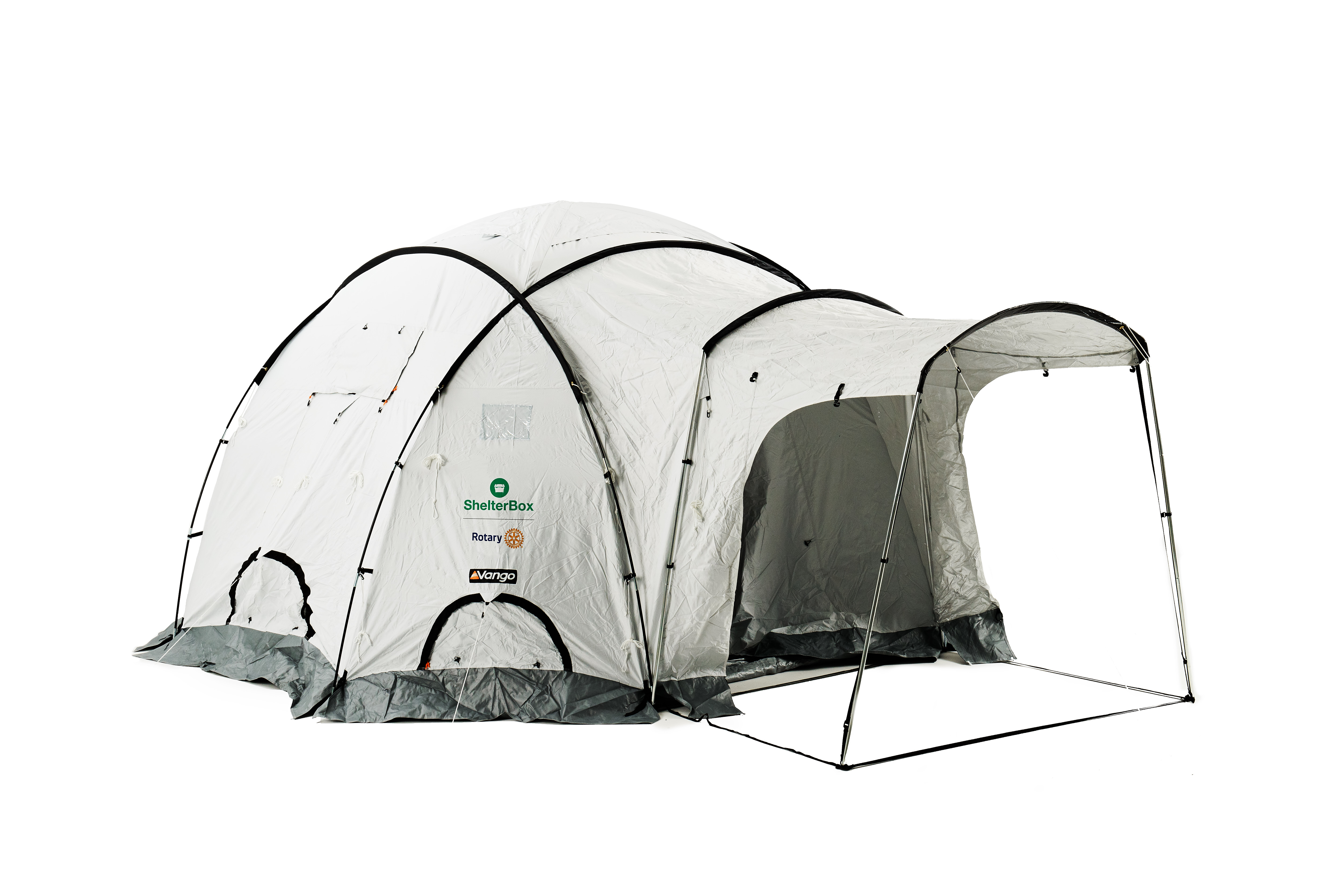 A ShelterBox tent that provides emergency shelter for families who have lost their homes due to disaster